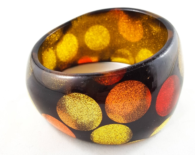 Gorgeous Gold Glitter Dot Acrylic  Bangle