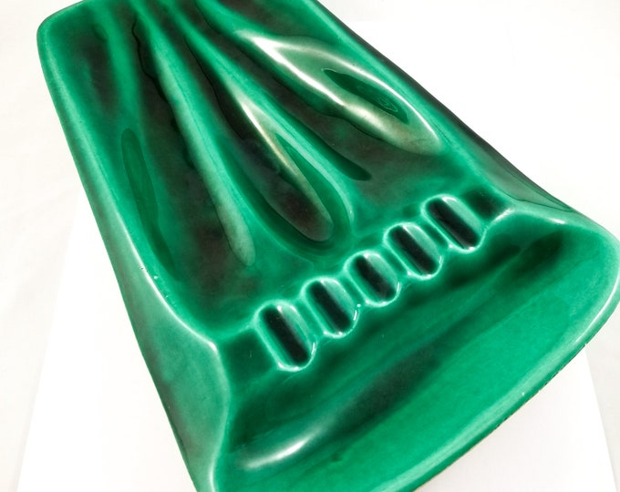 Mid Century Modern Emerald Green Glaze Ashtray/Trinket Dish
