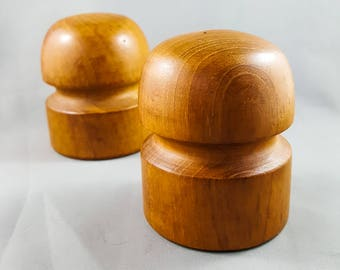Gorgeous Danish Mid Mod Teak Salt and Pepper Shakers by Winsome with Stoppers Teak Mod Mushrooms