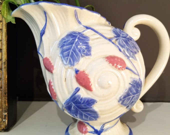 Stunning White Pitcher with Red and Blue Leaves and Pedestal Base, Scrolled Handle, Raised Design, marked Japan 1940's