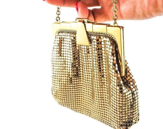 Beautiful Tiny Vintage 1950's Gold MESH evening Bag,Whiting and Davis Co.
