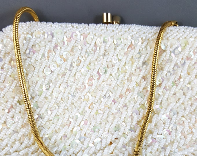 Magnificent Hand Beaded and sequined White Wedding Bag with Brass Chain