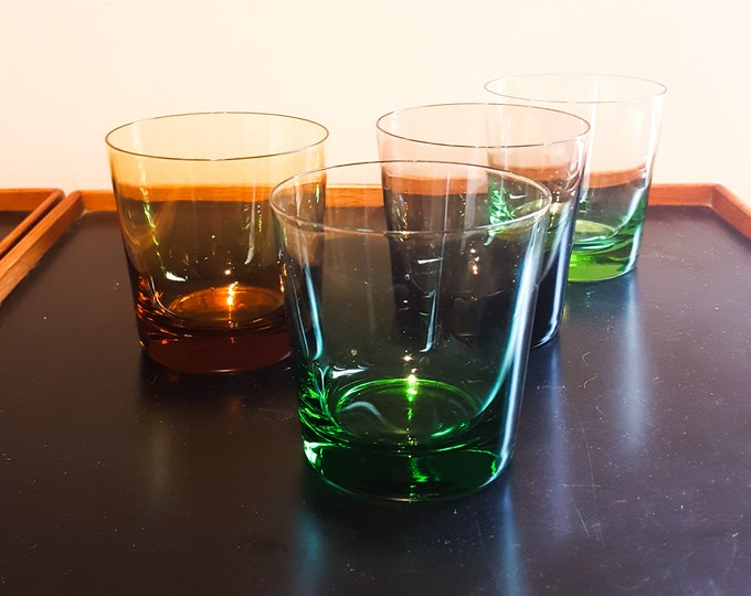 Stunning Mixed Color Glass Whiskey Glasses lo Ball Green Emerald Amber Smoke
