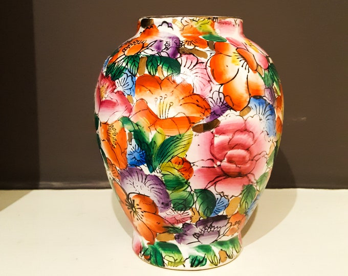 Gorgeous Multicolored Richly Saturated Hand Painted Floral Vase
