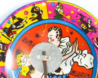 Vintage Metal Litho Noisemaker, Harlequin, Party Favor, New Years, Art Deco, Clanger Bell, US Metal Toy and Kirchhof