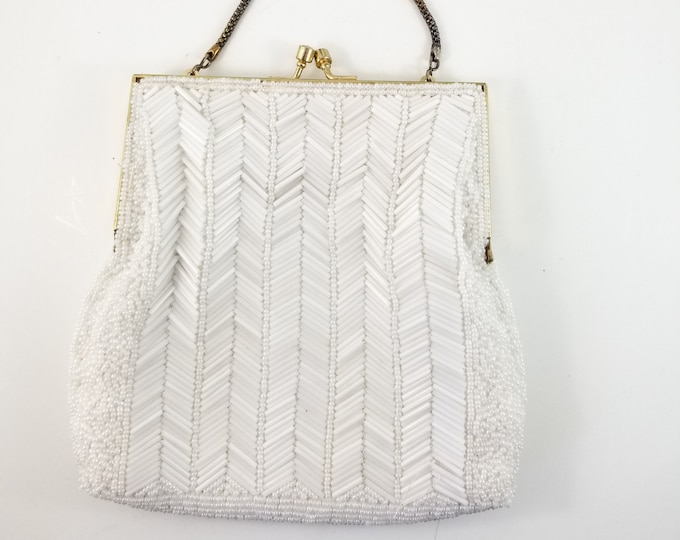 Magnificent Hand Beaded White Wedding Bag with Brass Strap