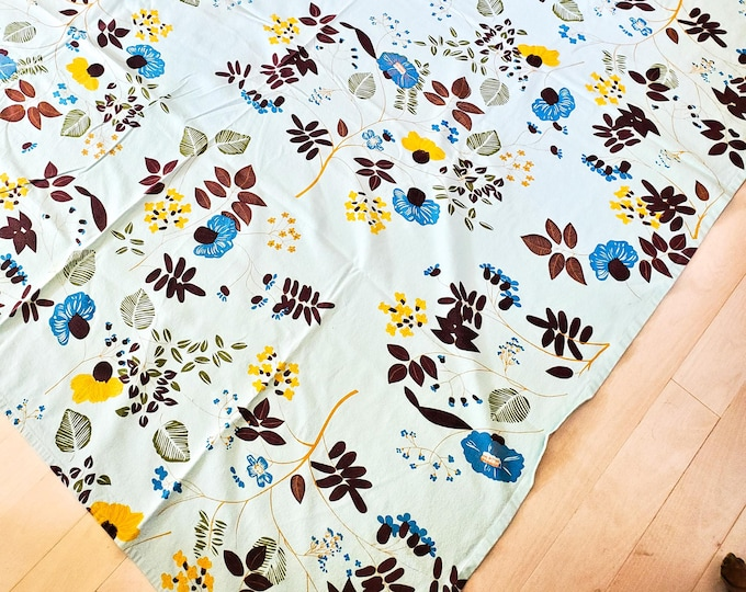 """1950's Country Kitchen Blue Rectangular Cotton Tablecloth with  Brown Blue and Yellow Leaves and Flowers Throughout 9""""x 62"""""""