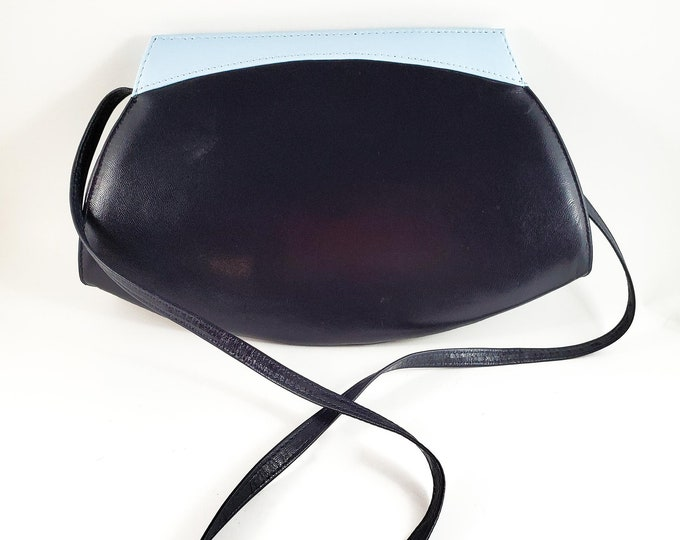 Gorgeous Mid Century Navy Purse with Powder Blue Detailing Jacques Vert Navy handbag Italian Purse.