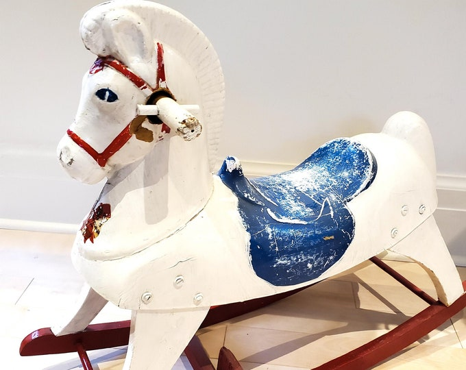 """Fabulous """"Harry the Hairless Horse"""" Antique Hobby Horse, Vintage Hobby Horse, Vintage Rocking Horse"""