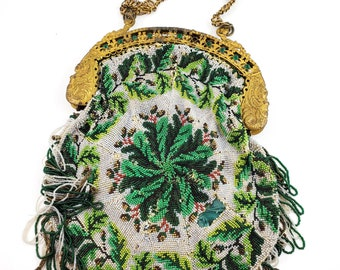 Magnificent Rare Art Deco Hand Beaded Micro Bead 1920s bag. with Brass Frame. 1920s accessories. 1920s evening bag.