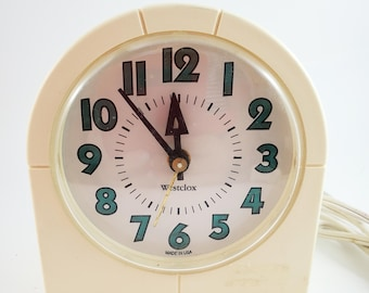 Vintage Westclox Cream Colored Electric Alarm Clock in Arch Shape.