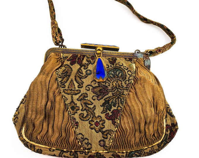 Fabulous Brocade Bag with Blue Jewel and Blue Jewelled Clasp