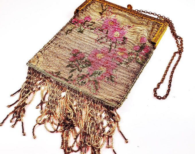 Magnificent Rare Antique Hand Beaded 1920s Floral bag. 1920s accessories. 1920s evening bag.