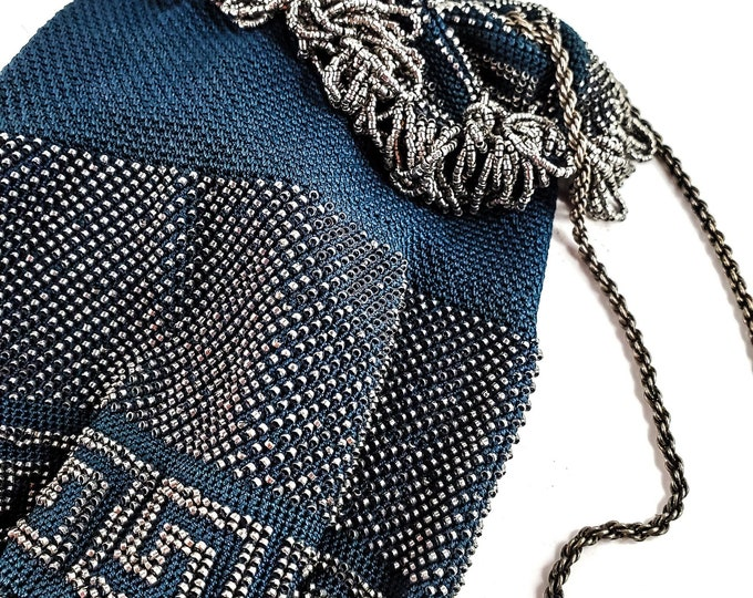 Gorgeous Blue Knit and Silver Bead Micro Bead Drawstring  Vintage Evening Bag w/ Metal strap/Antique Deco Drawstring Handbag
