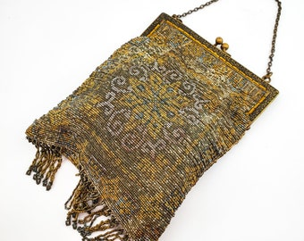 Magnificent Antique Gold, Silver and Bronze micro Bead Evening Bag w/ Brass strap/Antique 1900s Handbag Kiss Lock- Embossed garland Frame