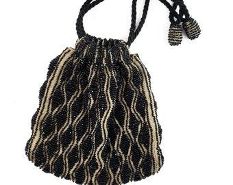 Gorgeous Tan Knit and Black Seed Bead  Drawstring  Vintage Evening Bag w/ rope strap/Antique Deco Drawstring Handbag