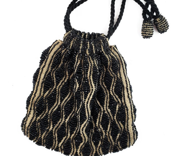 Gorgeous Tan Knit and Black Seed Bead  Drawstring  Vintage Evening Bag w/ rope strap/Antique Deco Drawstring Handbag