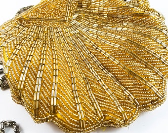 Magnificent Hand Beaded Gold Scalloped Evening Bag with Bugle and Seed Beeds