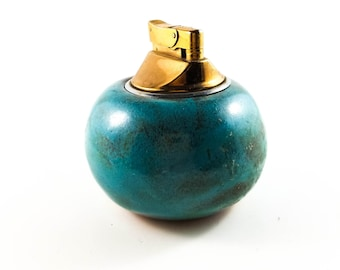 Beautiful Round Ceramic and Brass Vintage Lighter