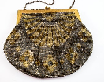 Magnificent Gold, Silver and Bronze micro Bead Evening Bag w/ Brass strap/Antique 1900s Handbag Kiss Lock- Embossed garland Frame / Vintage