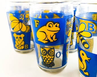 Fabulous Vintage Alphabet Blue and Yellow Breakfast Juice Glassware Lot of 7 1950's