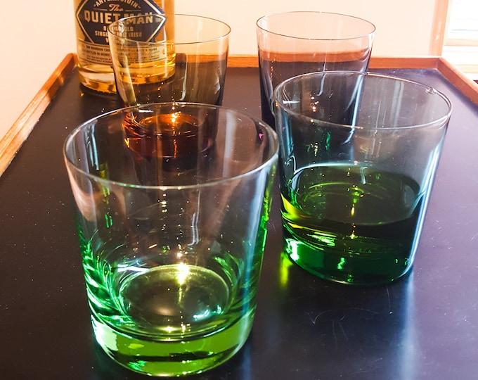 Stunning Mixed Color Glass Whiskey Glasses lo Ball Green Emerald Amber Smoke