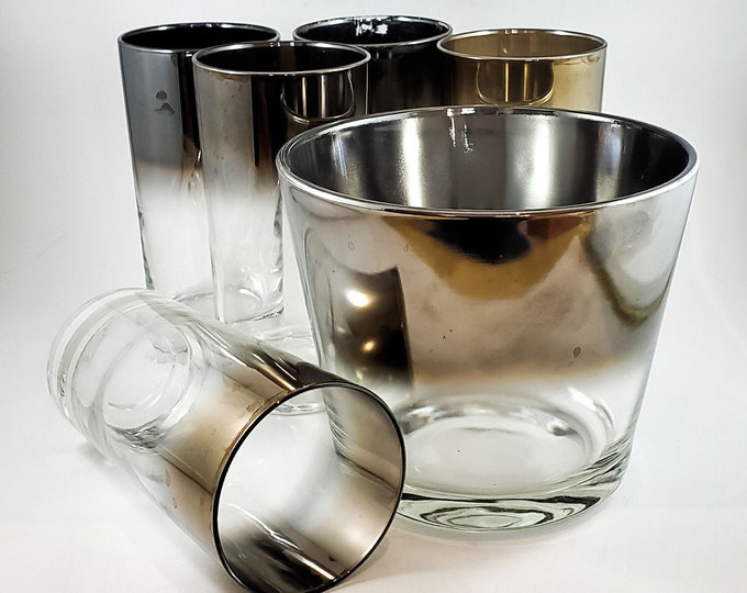 Gorgeous 6 Piece Mid Century Silvered Ombre Glasses and Ice Bucket