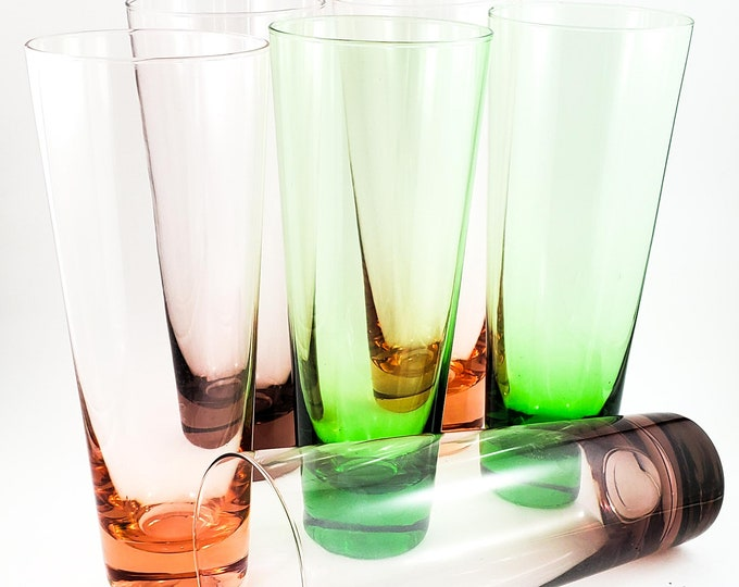 Gorgeous Extra Tall Multi Colored Glass Set of 6