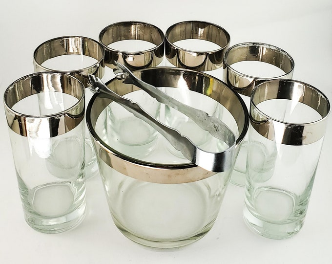 Dorothy Thorpe 8 Piece Mid-Century Silver Rimmed Hi Ball Glasses, Tongs and Ice Bucket