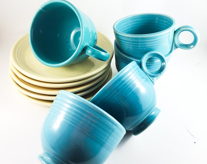 Beautiful Vintage Fiesta Ware Turquoise Blue Tea Cups and Cream Saucers x 5each - Made by Homer Laughlin