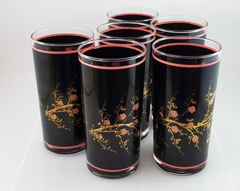 Fabulous Set of 6 Mid Century Cutler Cherry Blossom Glasses, Black and gold and Pink Cherry Blossom 22kt gold branchessBranches