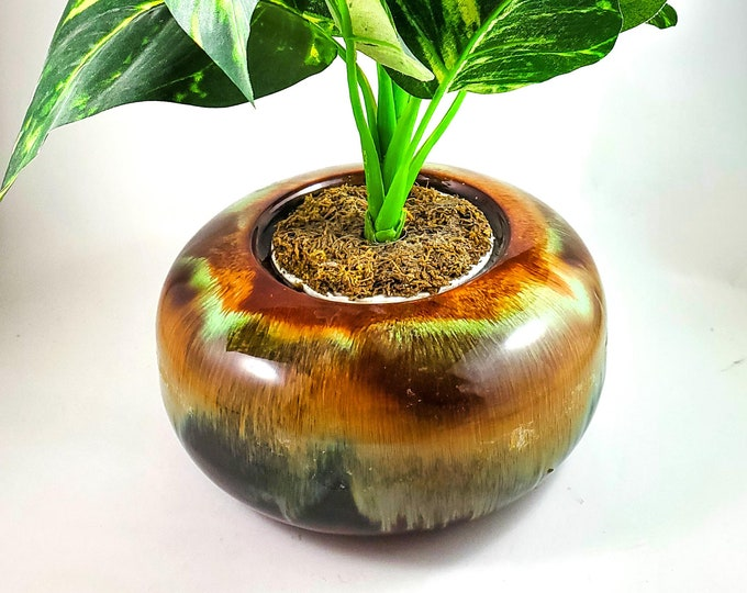 MCM Drip Glaze Round Planter in Green Brown and Butterscotch