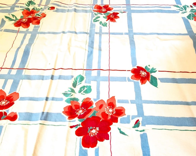 1950's Super Sweet Country Vintage Kitchen Tablecloth. Floral Motif in Pink, Red and Green on Powder Blue Banding and Thin Red Banding Blue
