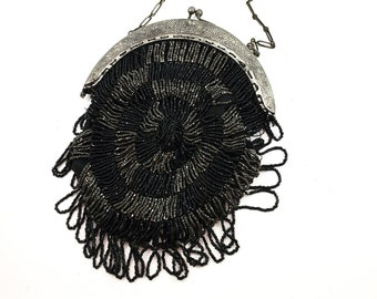 Fabulous 1930's Vintage Beaded Purse with Silver Frame and chain link handle. Looped beaded fringe.