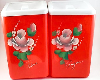 Beautiful Red Hand-Painted Kitchen Canisters