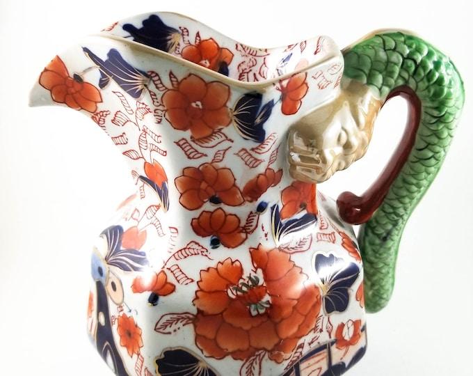 Incredible Antique Pitcher, Hydra Jug, Water Pitcher, Ironstone Jug, Serpent Handle, Imari Colors, Floral Scenes