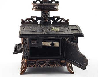 Miniature Bronze/Cast Iron Wood Stove Pencil Sharpener  with Doors that Open. Works! Stocking Stuffer!