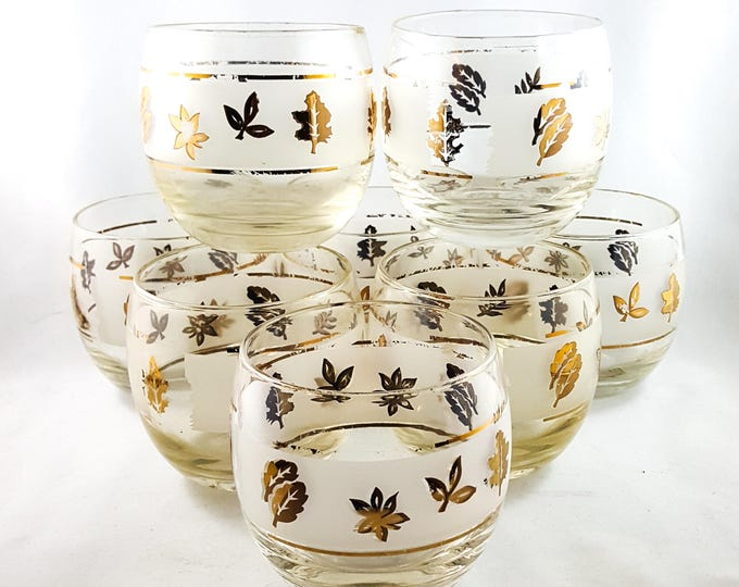 Awesome Mid Century Gold Leaf Libbey ROLY POLY Whiskey glasses Set of 14