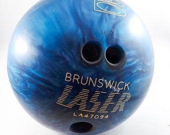 Gorgeous Blue Marbled 10 Pin Ebonite Drilled Bowling Ball, 12 lbs,  Marked Brunswick Laser Made in the USA