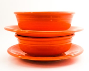 Vintage Collectible Fiestaware Orange Berry Bowls and Plates Homer Laughlin
