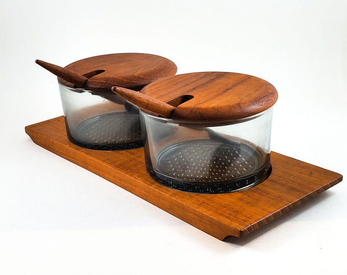 Gorgeous Danish Vintage Teak Condiment Set with 2 Teak Forks and Glass Bowls and Tray