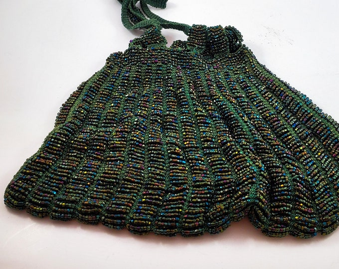 Magnificent Rare Art Deco Hand Beaded Copper and Green 1920s drawstring bag. 1920s accessories. 1920s evening bag.