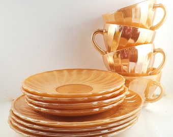 Gorgeous Fire King 12 Piece Peach Lustreware Cake Plates, Cup and Saucer Set. 4 plates. 4 cups. 4 saucers, marked Suburbia