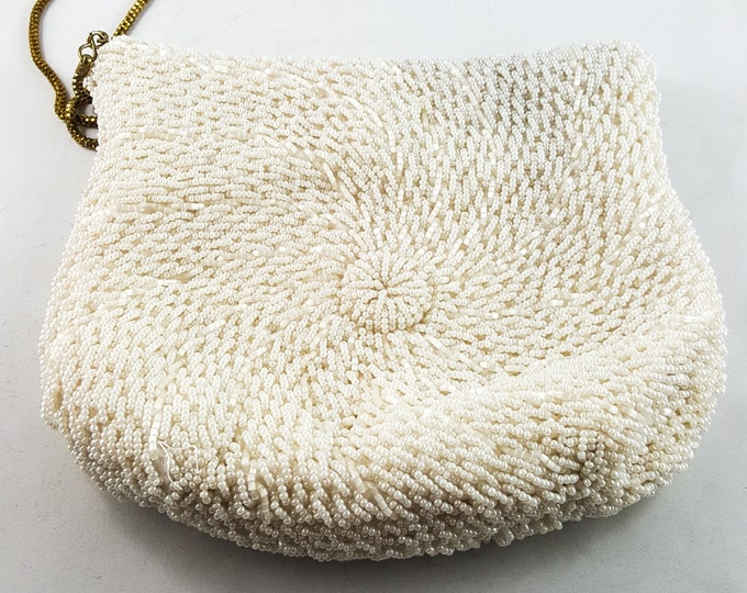 Magnificent Hand Beaded White Seed Bead Wedding Bag with Gold Chain