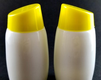 Simple Yellow and White Salt and Pepper Shakers with Stoppers