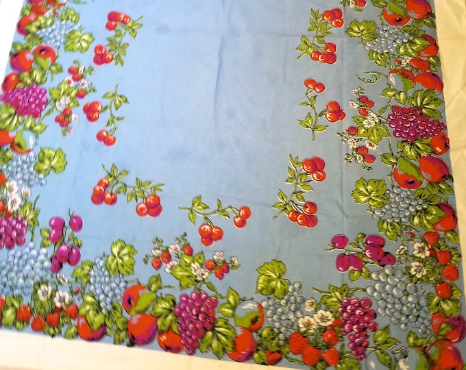 """1950's Country Kitchen Periwinkle Rectangular Cotton Tablecloth with Purple Grapes, Strawberries, Cherries Pears, - 49""""x 62"""""""