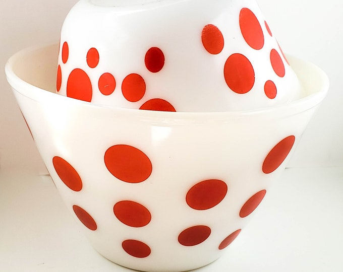 Vintage Federal Beautiful RED POLKA DOT Milk Glass Bowls Heat Proof Bowl Federal Glass