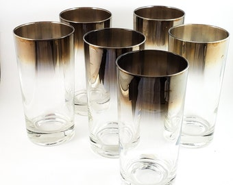 Gorgeous 6 Piece Mid Century Silvered Ombre Glasses