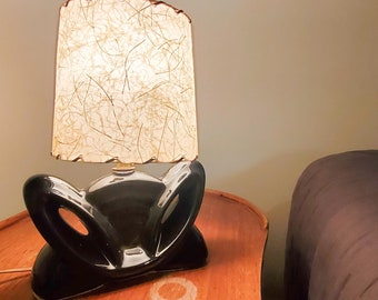 Super Cute Vintage Mid Century Black Ceramic/ Pottery Accent Lamp