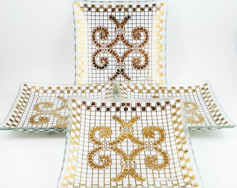 4 Gold and White Mosaic Glass Cake Plates, Dessert Dishes, Cocktail Dishes
